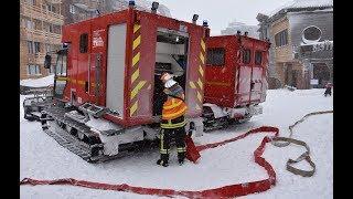Démonstration manœuvre incendie avec les pompiers du centre avancé d'Avoriaz (74)