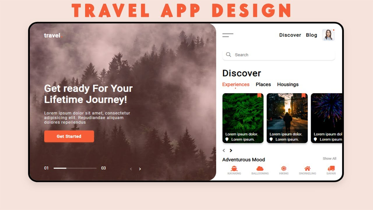 How To Create And Design UI Of A Travel Service App Using Html, Css &  Jquery