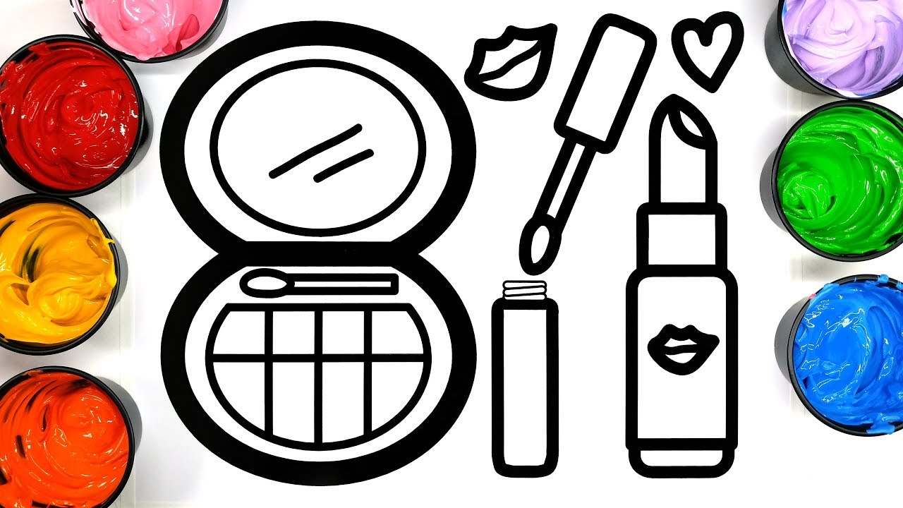 Pretty Make Up Coloring Page For Girls Lipstick Painting