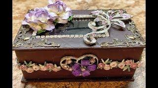 Learn to make a beautiful jewelry box from a plain cardboard box