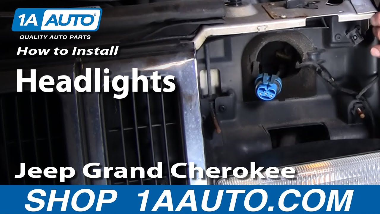 maxresdefault how to install replace grand cherokee headlight 93 98 1aauto com 2004 jeep grand cherokee headlight wiring diagram at soozxer.org