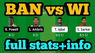 BAN vs WI Dream11| BAN vs WI | BAN vs WI Dream11 Team|