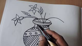 How to to draw POT DRAWING WITH DESIGN BY PRAVEEN