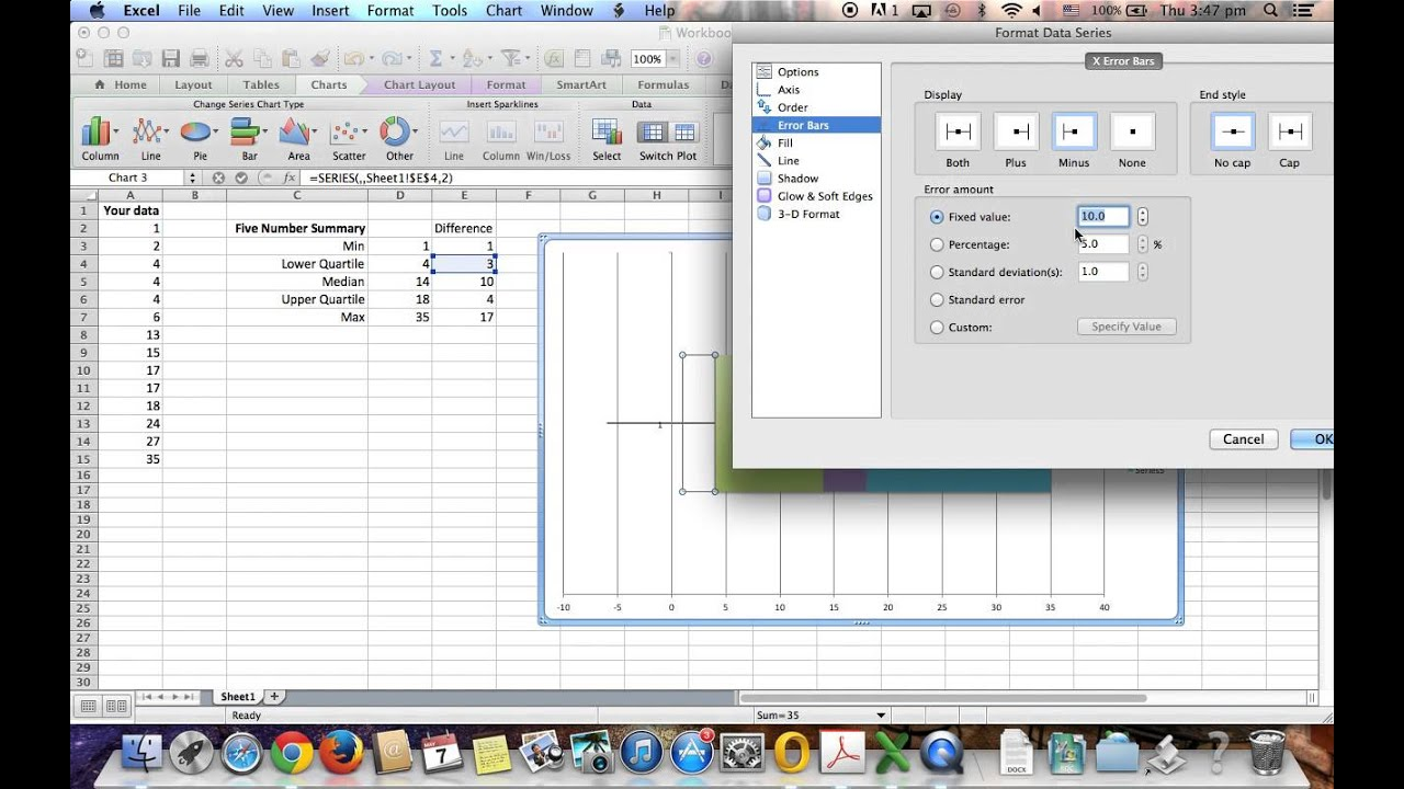 how to create a box whisker plot in excel
