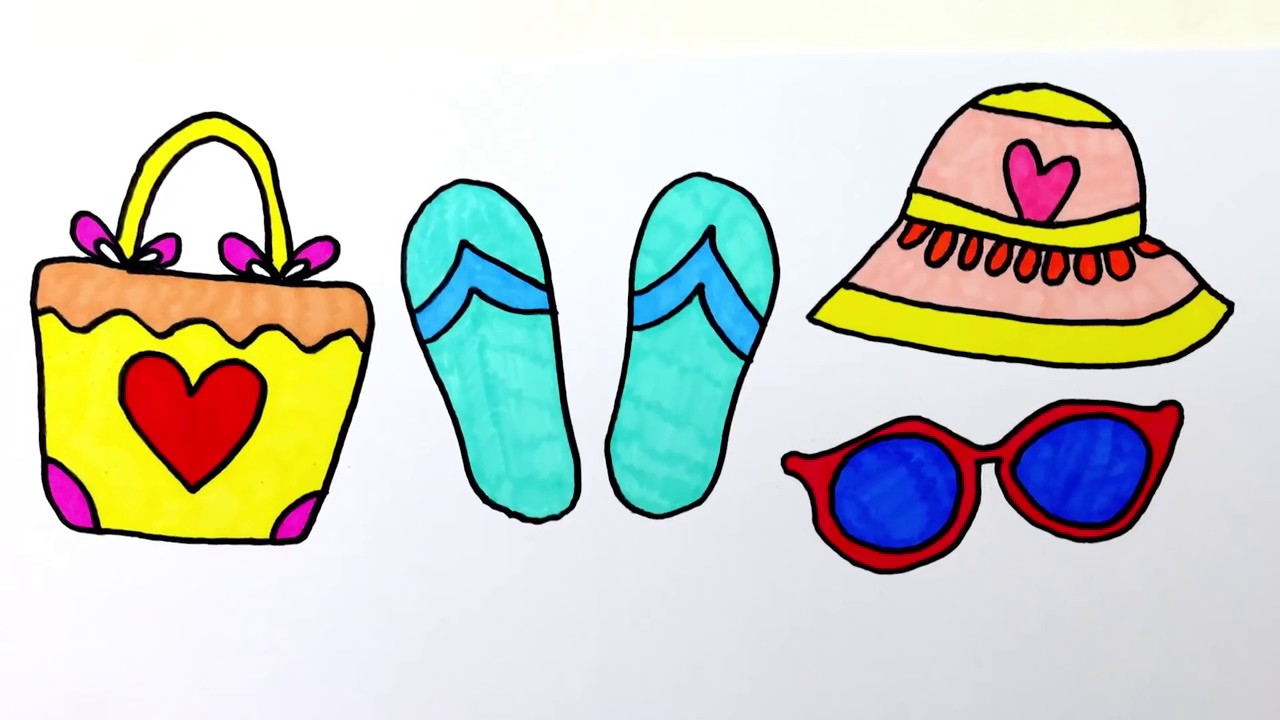 Desenho E Colorir Praia Conjunto Para Meninas Video Como Pintar