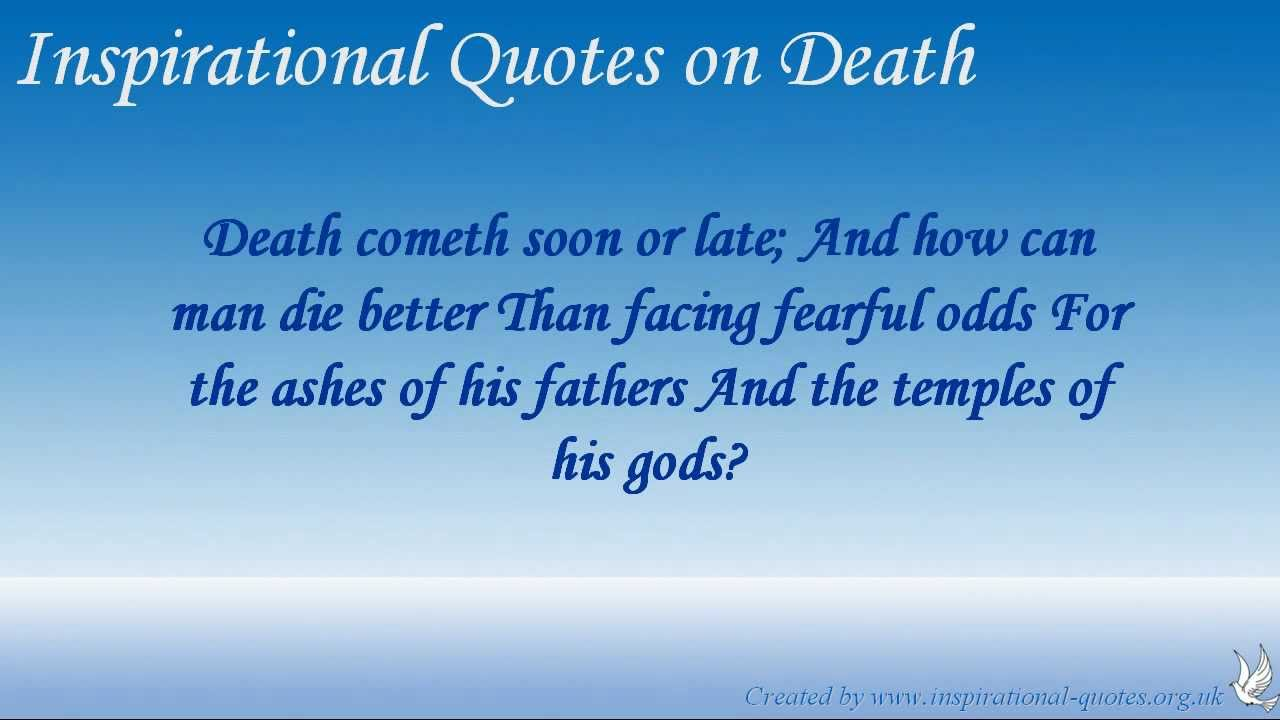 Famous Quotes About Death Of A Loved One Enchanting Inspirational Quotes On Death  Youtube
