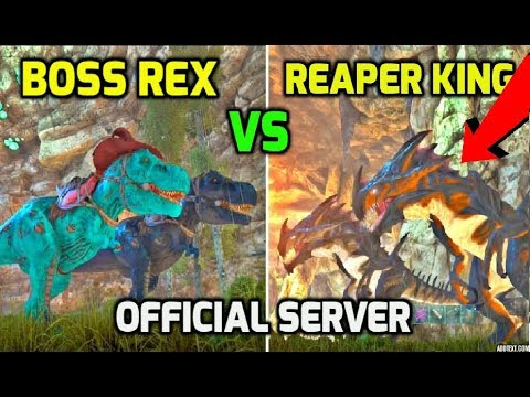 Ark: I CHALLENGED MY TRIBE LEADER TO A FIGHT! Reaper King VS Boss Rex - Official PvP Ark Survival