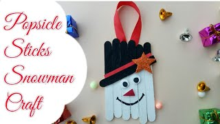 Popsicle sticks crafts for kids/Popsicle stick snowman/Christmas ornaments/New year decor 2018/diy