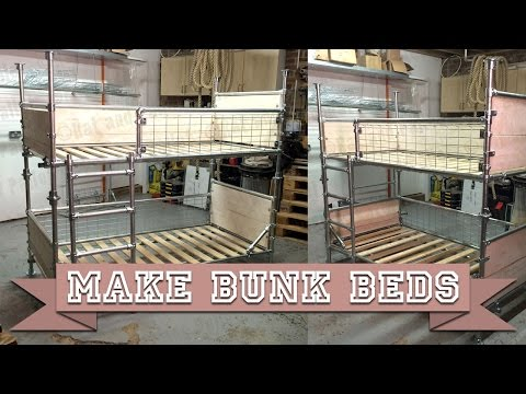 Make DIY Bunk Beds or Single Platform Bed from Kee Klamp Scaffold and Boards with Basic Tools