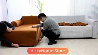 How to install 2 Pieces L-Shaped Sectional Couch Covers, Learn how to install sofa cover