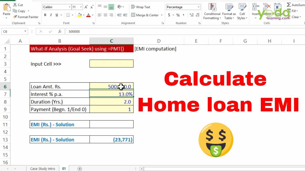 calculate home loan emi in excel