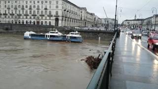 Boats Crash Into Turin Bridge Amid North Italy Flooding
