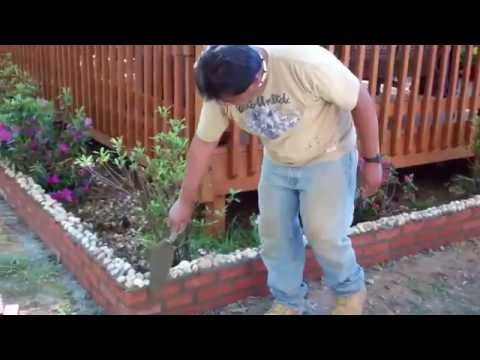 How to build a flower bed border with brick