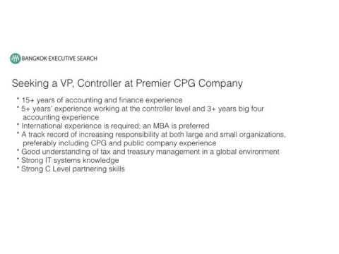 Bangkok Recruiting Firm Seeking VP Controller