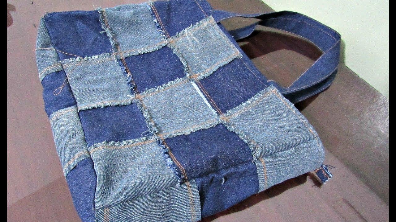 8b1fc9529 Reciclaje de Jeans: Bolso con cuadrados - YouTube