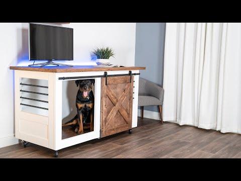 2-in-1-barn-door-entertainment-center-dog-crate-|-diy-creators