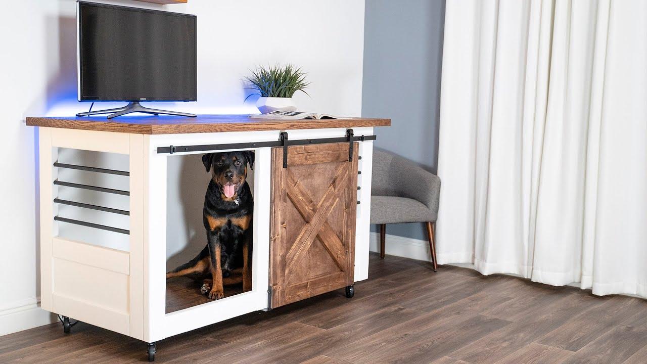 Barn Door Entertainment Center Pet Crate | DIY CREATORS
