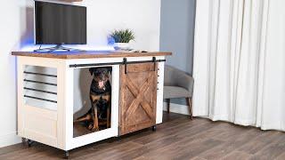 2 in 1 Barn Door Entertainment Center DOG Crate   DIY CREATORS