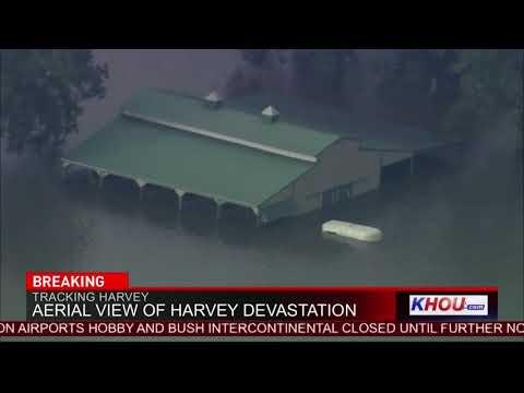 Devastating birds-eye view of flooded Houston area