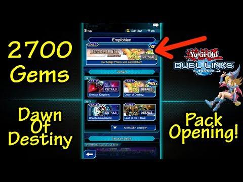 "Yugioh Duel Links | 2700 Gems/Diamanten "" Dawn of Destiny "" Pack Opening/Analyse | w/Gimbplays [DEU]"