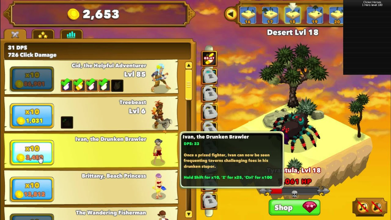 Clicker Heroes Level 100 Hero Speedrun in 12:46 664