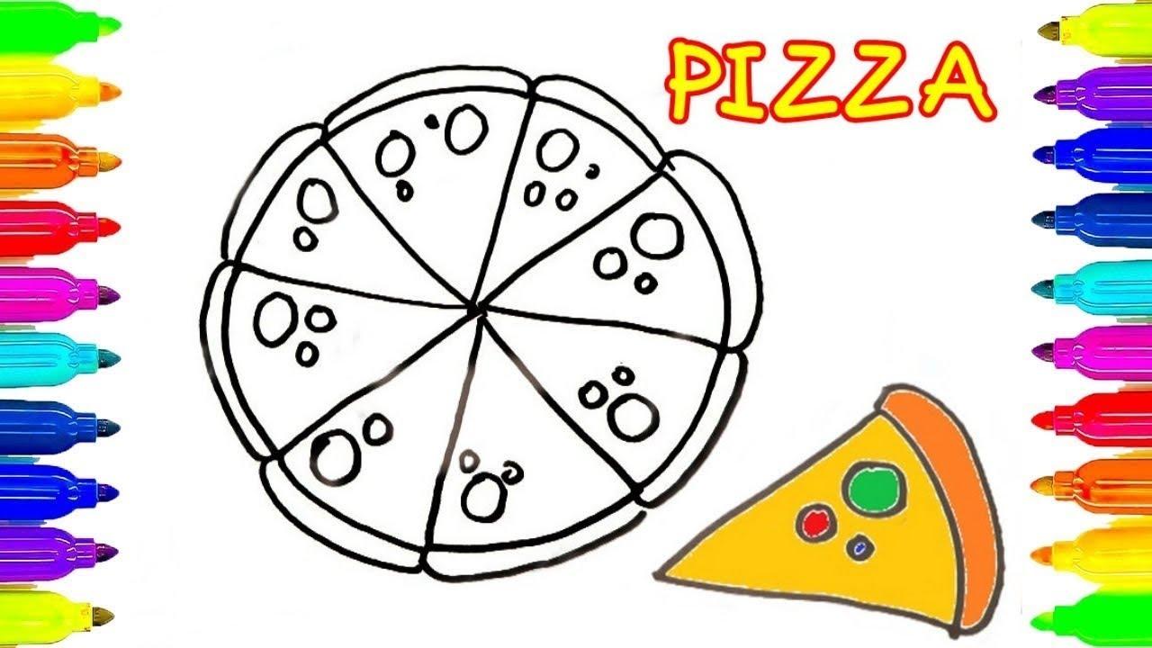 Como Dibujar Y Colorear Un Pizza De Colores