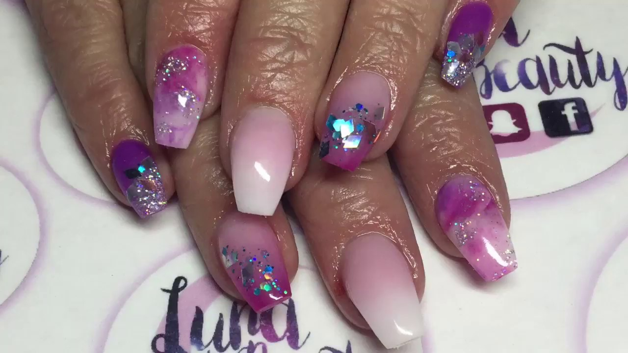 Acrylic Nail Designs Pink And Purple Papillon Day Spa