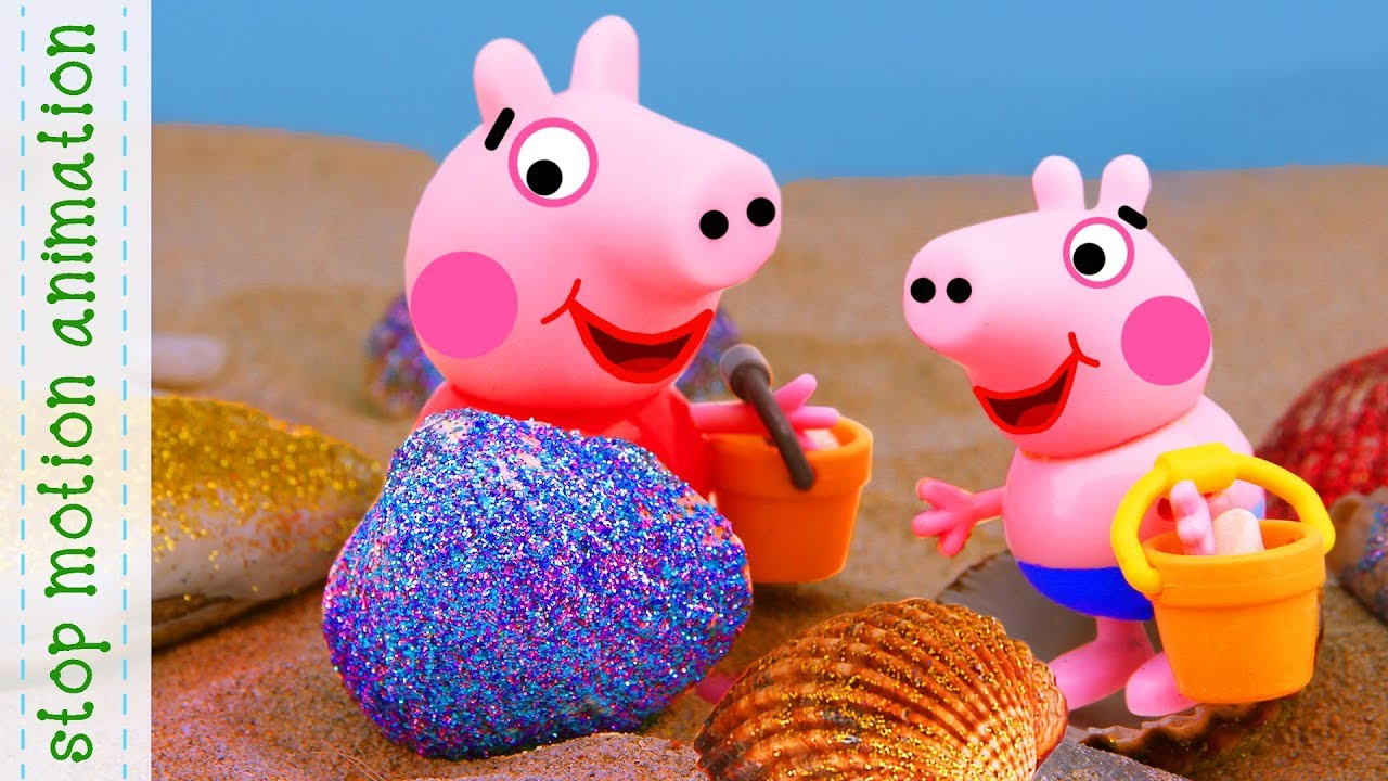 Animated Pictures Of Seashells seashells on the beach. peppa pig toys. stop motion animation. new episodes  2018