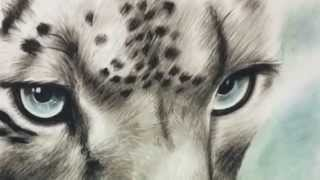 Drawing tutorial. How to draw a snow leopard. Pastels/charcoal