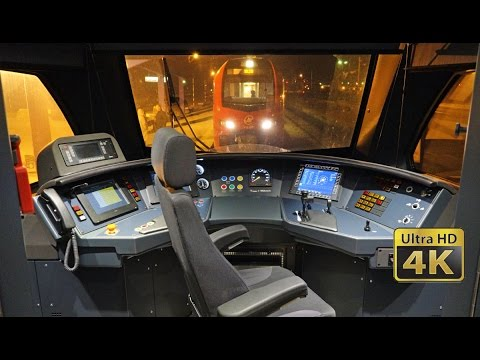 Night Cab Ride EMU Stadler FLIRT 3 - Serbian Railways [Novi Sad - Belgrade] 120km/h [4K]