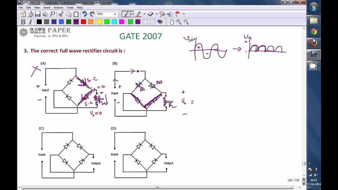 Gate 2007 Ece The Correct Full Wave Rectifier Fwr Circuit Is Youtube Of