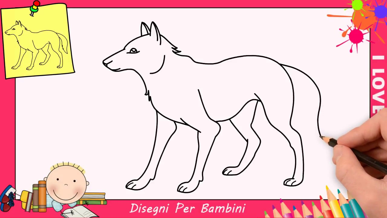 come disegnare un lupo facile passo per passo per bambini