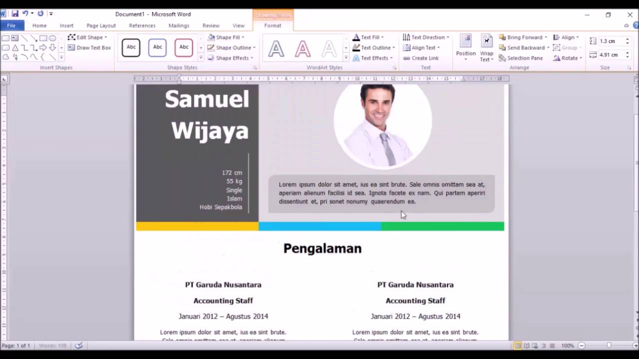 Tutorial membuat cv menarik dengan ms word youtube yelopaper Images