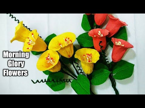 How To Make Morning Glory Flower From Crepe Paper-crepe paper craft