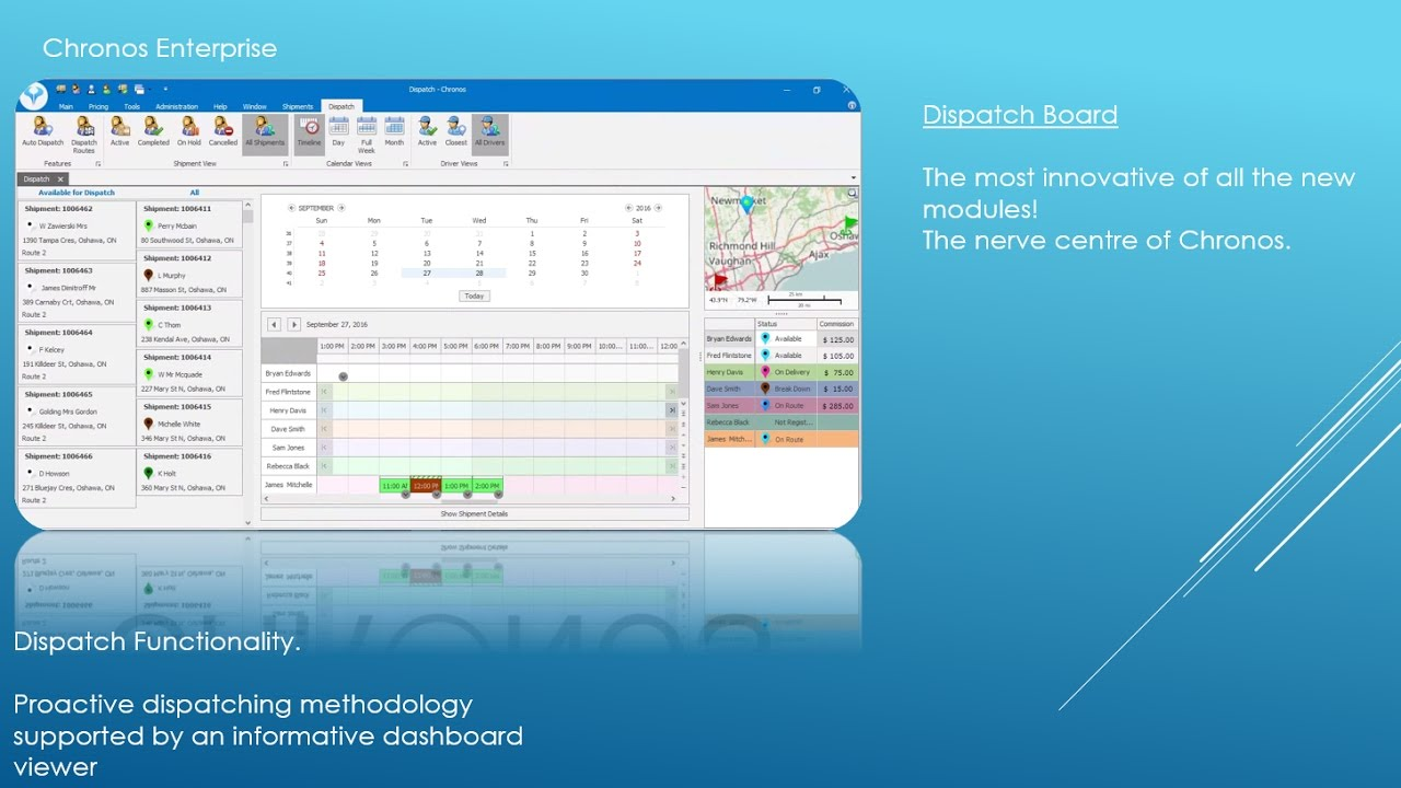 VIDEO 3a The Commercial Dispatch Module - Chronos Courier Tracking Software  Center