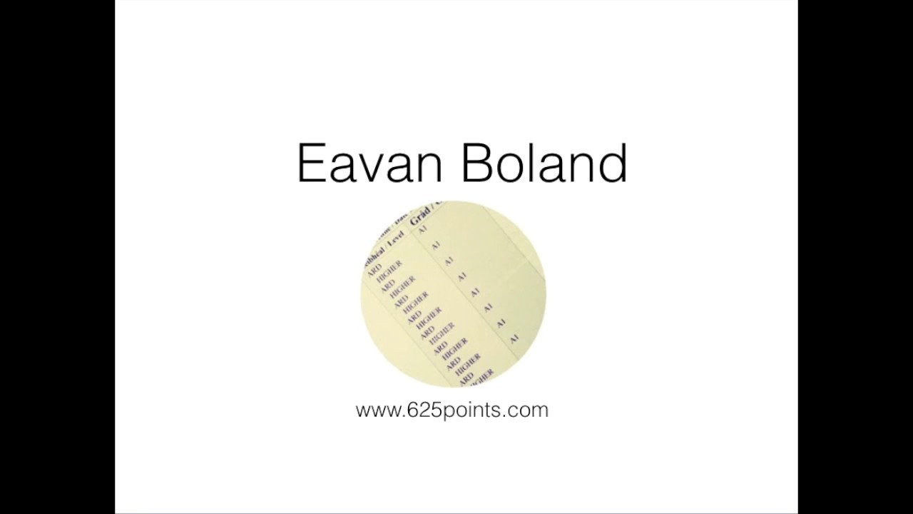 essay eavan bolands poetry The appeal of eavan boland's poetry is how real she is as her personal experiences are reflected in her poems her writing is humble and domestic making it accessible to the reader as she is interested in the voices of the powerless in.