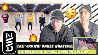 GUYS REACT TO TXT 'CROWN' DANCE PRACTICE (EXTRA CLIP: TXT 'JACKET SHOOTING SKETCH')