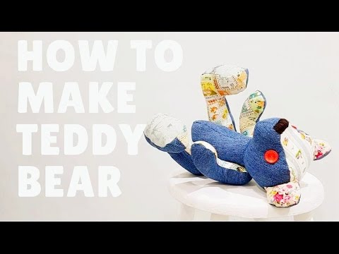 Make your own teddy bear   Upcycle jeans into teddy bear   old jeans easy sewing project满满爱心小熊宝宝❤❤