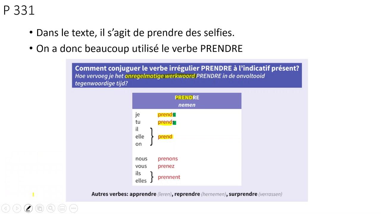 Frans 1a Filmpje 2 Er4 Le Verbe Prendre Youtube