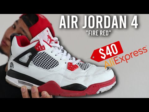 """I bought FAKE Air Jordan 4 """"Fire Red"""" for $40 from AliExpress!! 