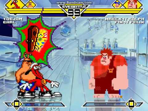Toejam and Earl vs Whreck it Ralph and Fix it Felix MUGEN BATTLE
