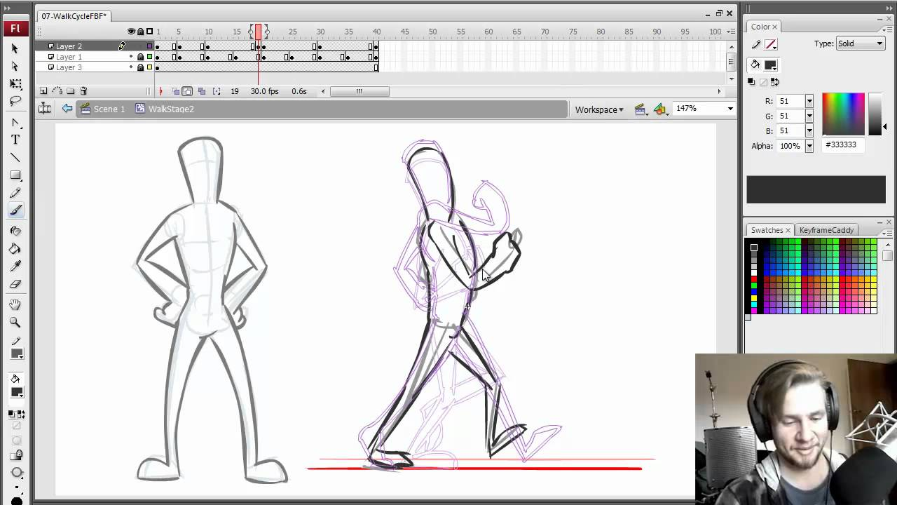 How To Animate - Walk Cycle FBF (Frame by Frame) - YouTube