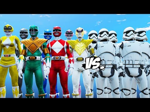 MIGHTY MORPHIN POWER RANGERS VS STORMTROOPERS ARMY