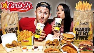 Tasty Carl's Jr Mukbang!  Burgers, Fried Zucchini & More
