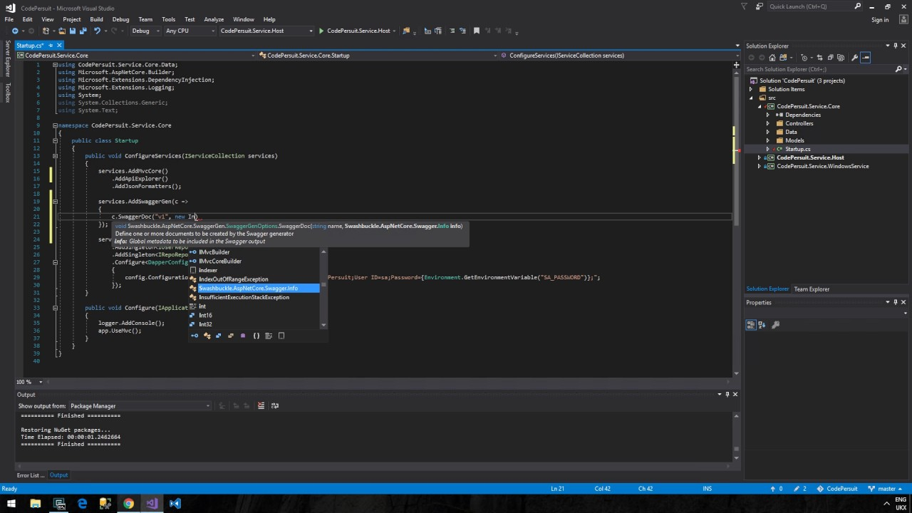 CodePersuit Tutorial 3 - Part A - Swagger with Swashbuckle