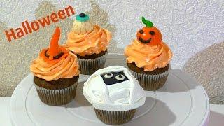 Капкейки на Хеллоуин Как украсить капкейки  Cupcakes for Halloween