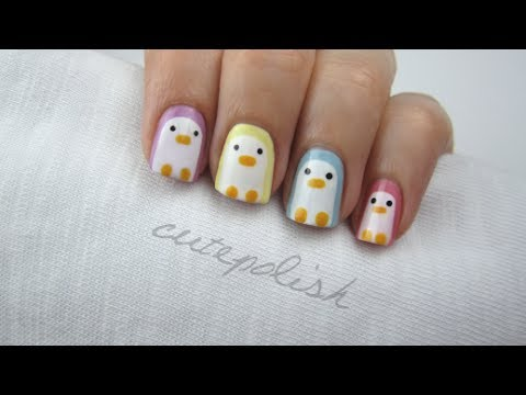 nail art pastel penguins