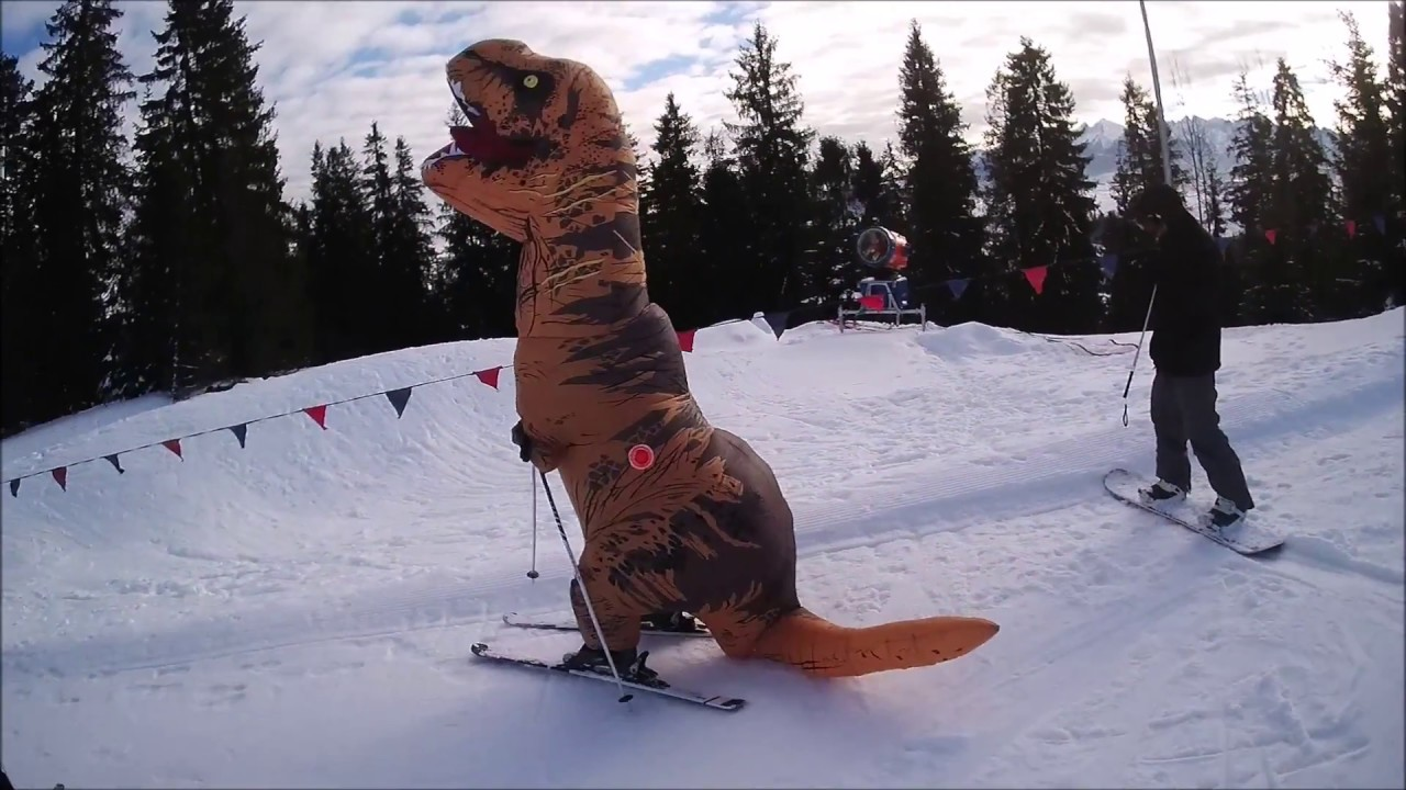 T Rex Costume Skiing