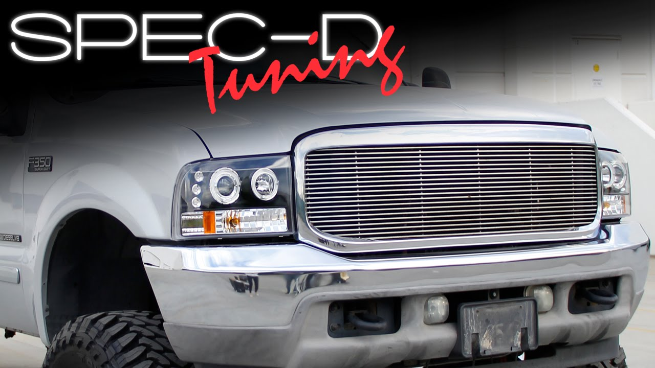specdtuning installation video 1999 2004 ford f250 f350 led projector headlights youtube [ 1280 x 720 Pixel ]