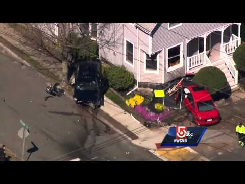 Uncut video: Crash sends car into Peabody home